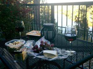 A little snack on our balcony overlooking the river at the Pine Tree Inn.